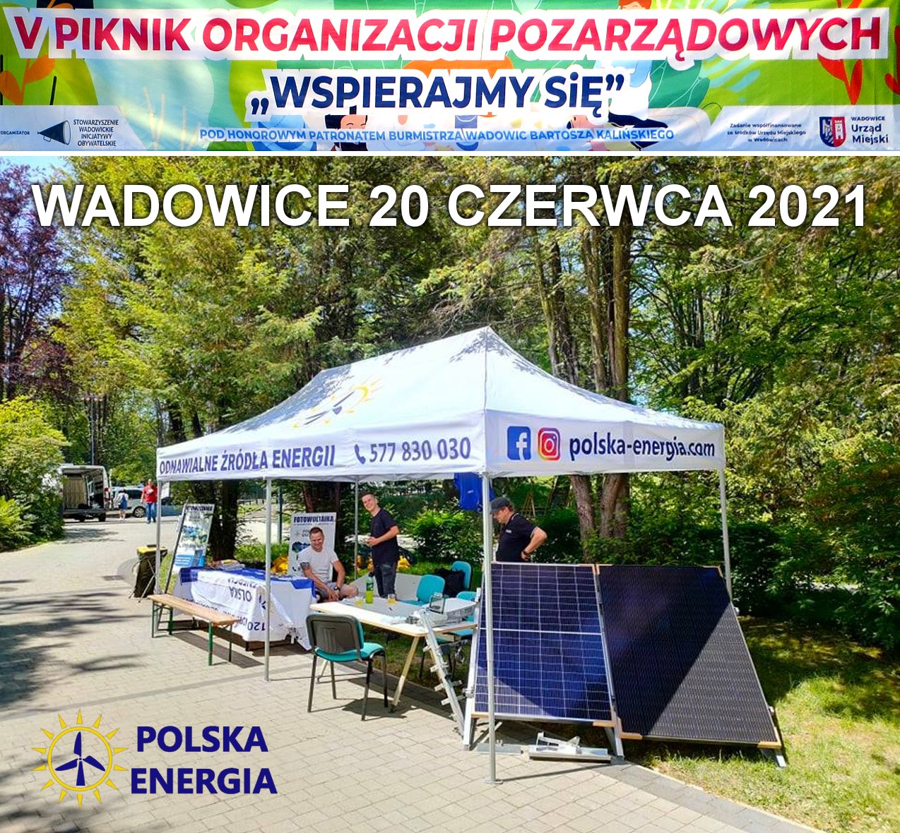 Firma fotowoltaiczna Polska Energia podczas V Pikniku Organizacji Pozarządowych w Wadowicach